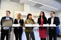 Industrifacken samlade för avtalsrörelse, från vänster Per-Olof Sjöö GS-facket, Eva Gouvelin Livs, Marie Nilsson IF Metall, Ulrika Lindstrand Sveriges Ingenjörer och Martin Linder Unionen.