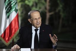 Libanons president Michel Aoun under tisdagens tv-intervju.