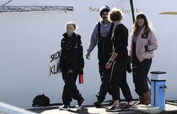 Thunberg klev i land i Lissabon på tisdagseftermiddagen.