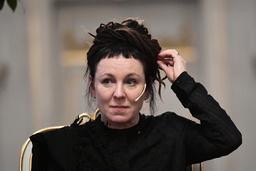 Olga Tokarczuk vid en pressträff i Börshuset i Stockholm. Arkivbild.