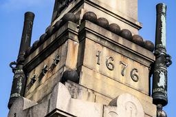En kanon saknas fyra meter upp på obelisken på 'Monumentet' i Lund. Totalt har fem kanonrör och flera kanonkulor från 1800-talsmonumentet till minne av det blodiga slaget i Lund försvunnit. Arkivbild.