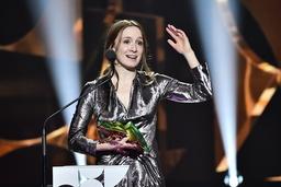 Emelie Garbers fick priset för bästa kvinnliga huvudroll i filmen 'Aniara'.
