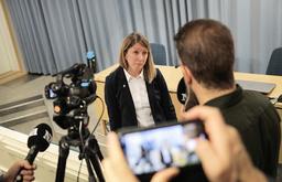 Åklagare Åsa Hiding under en pressträff om mordåtalet mot mannen.