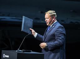 Jonas Hjelm, chef för Saabs affärsområde Aeronautics, uppger att Saab är en av tre alternativ tillsammans med amerikanska Lockheed Martin och Boeing. Arkivbild.