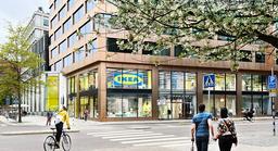 Arkitektritad bild på hur entrén till Ikeas cityvaruhus i Gallerian kommer se ut.