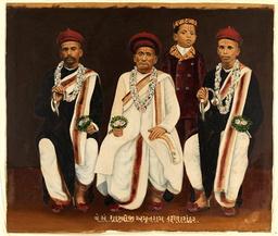 Flera av de konstverk som Australiens nationalgalleri nu återlämnar till Indien tros vara stulna. Här en odaterad målning på en Gujarati-familj.